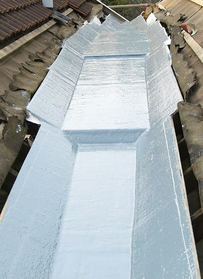 Freshly laid fibreglass roofing